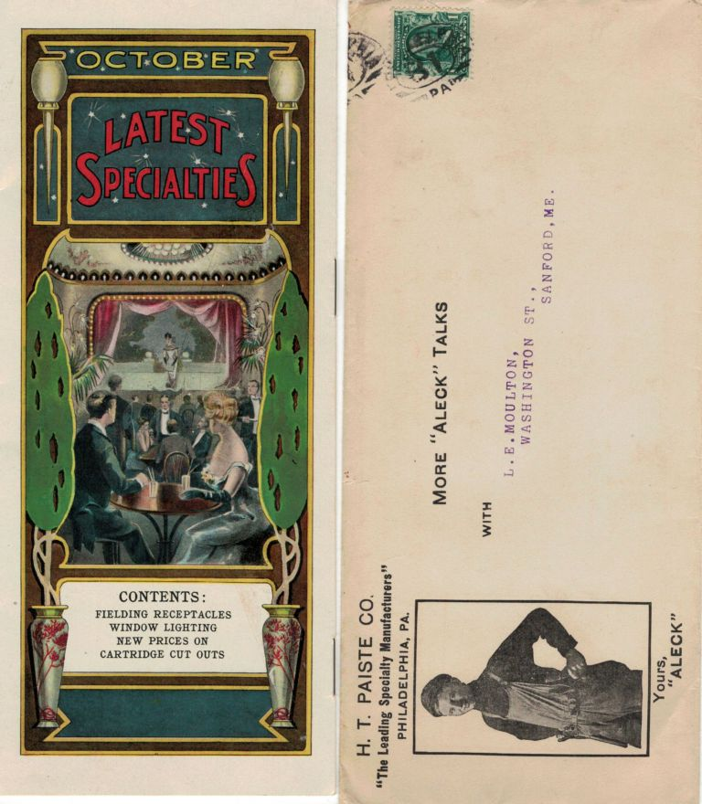 October 1906: Latest Specialties; Fielding Receptacles * Window Lighting * New Prices On Cartridge Cut Outs. Philadelphia. H. T. Paiste Co. Latest Specalties.