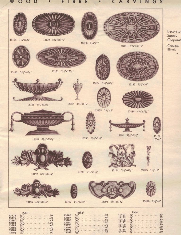Wood Fibre Carvings Catalog 122. Chicago. Decorators Supply Company.