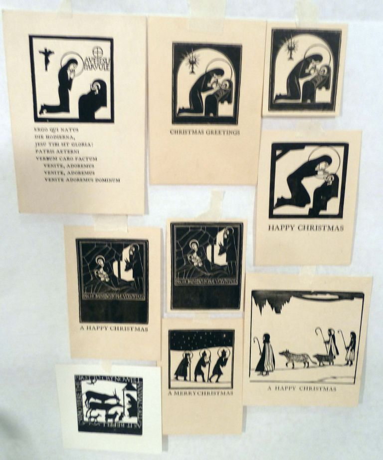Nine Assorted Christmas Theme Wood Cuts. Eric Gill, Illustrator.