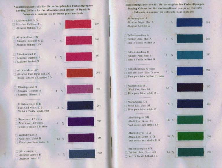 Mordant Colours on Piece Goods and suitable Shading Colours. New York. Grasselli Dyestuff Corporations.
