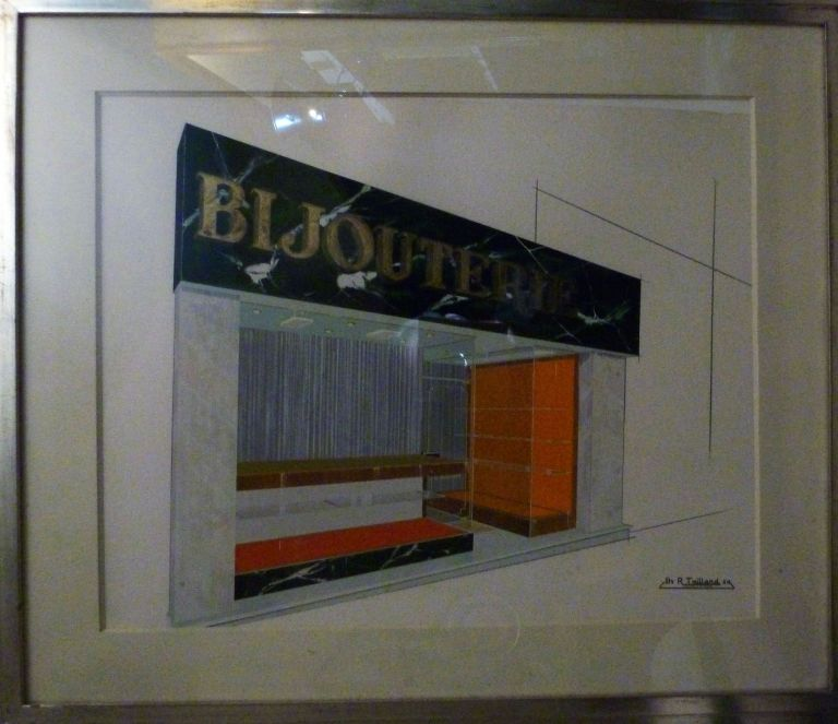 "Architectural Drawing Framed: Art Deco Design. French School: ""Bijouterie"""