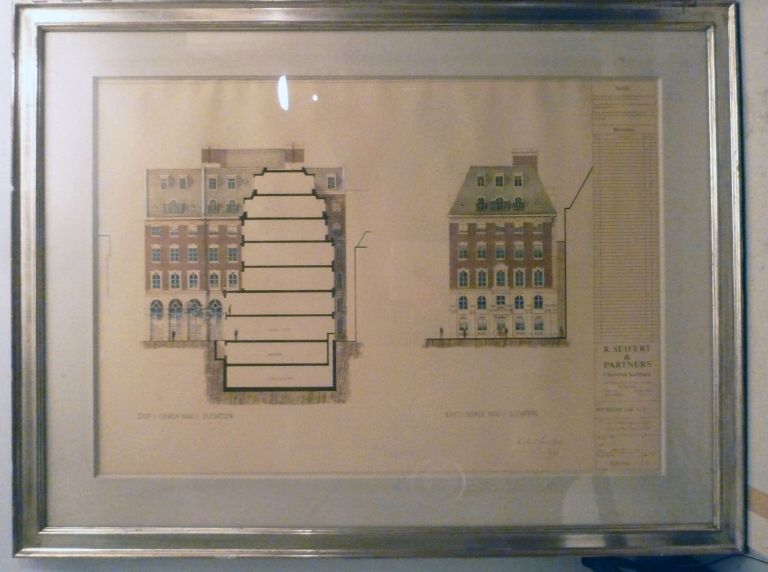 Architectural Drawing Framed: Bengal Court East Elevation. R. Seifert.