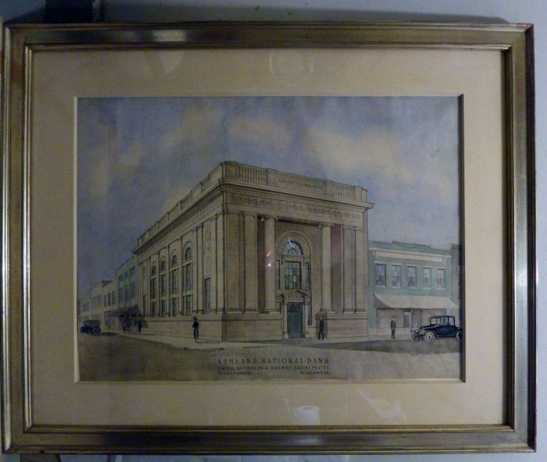 Architectural Drawing Framed: Ashland National Bank, Manitowoc, Wisconsin. Reynolds Smith, Brandt Architects.