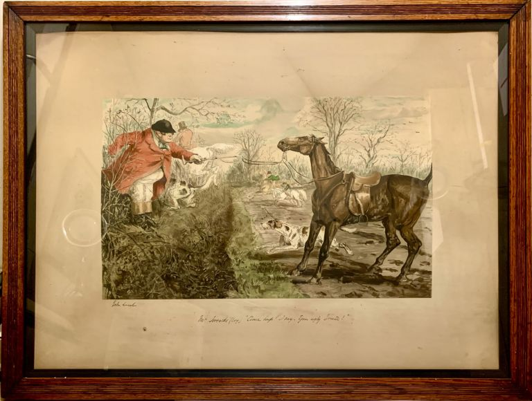 Hand Colored Proof Engraving Depicting Hunting Scene; Wood framed glass portrait with hooks suitable for hanging. John Leech.