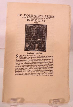 St. Dominic's Press Ditchling, Hassocks, Sussex. Book List 1930. Hilary D. C. Pepler