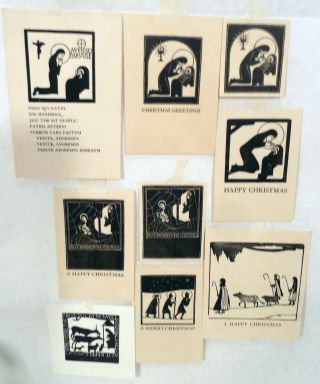 Nine Assorted Christmas Theme Wood Cuts. Eric Gill