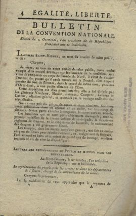 Bulletin De La Convention Nationale. Seance du 4 Germinal, l'an troiseme de la Republique...