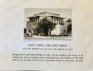 Unity Temple And Unity House. Frank Lloyd Wright, Ephemera