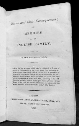 Errors and their Consequences; Or, Memoirs Of An English Family