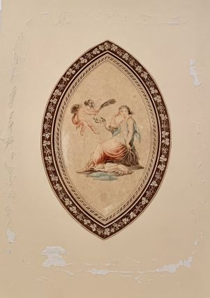 Oval Color Engraving. 19th Century Print